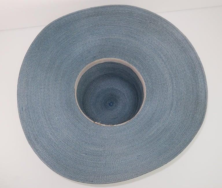 Emilio Pucci Wide Brim Blue Gray Straw Hat, 1960's For Sale 6
