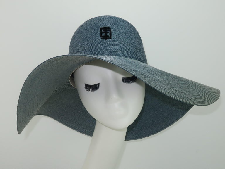 Emilio Pucci Wide Brim Blue Gray Straw Hat, 1960's In Fair Condition For Sale In Atlanta, GA
