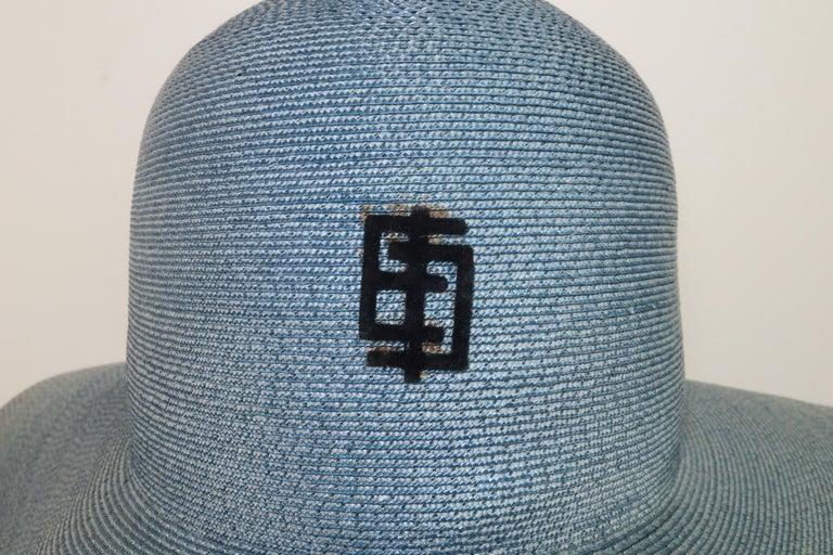 Women's Emilio Pucci Wide Brim Blue Gray Straw Hat, 1960's For Sale