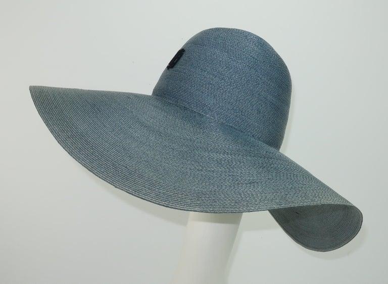 Emilio Pucci Wide Brim Blue Gray Straw Hat, 1960's For Sale 1