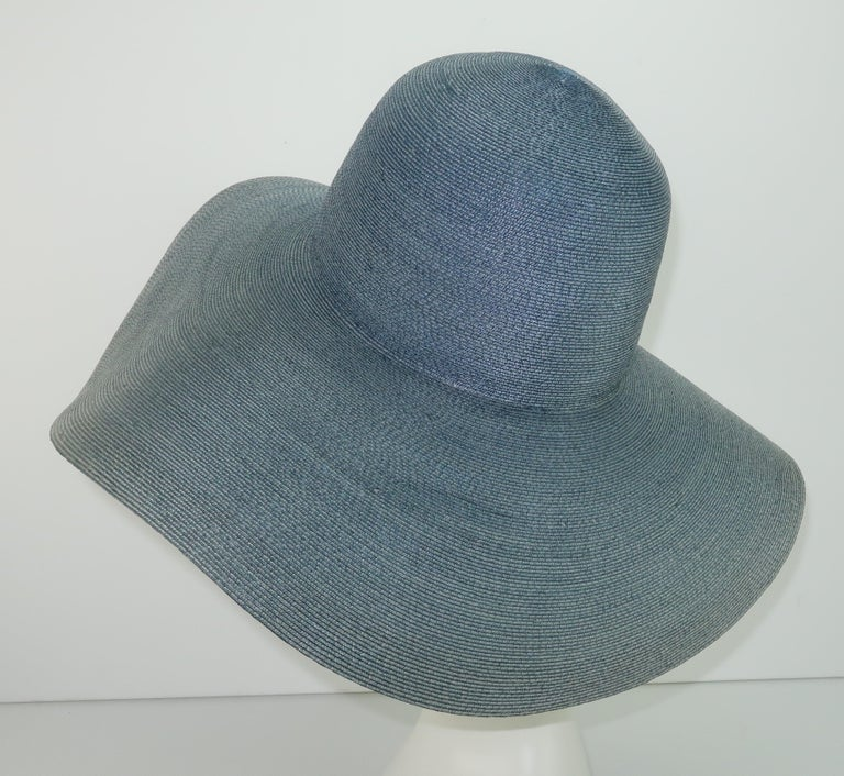 Emilio Pucci Wide Brim Blue Gray Straw Hat, 1960's For Sale 2
