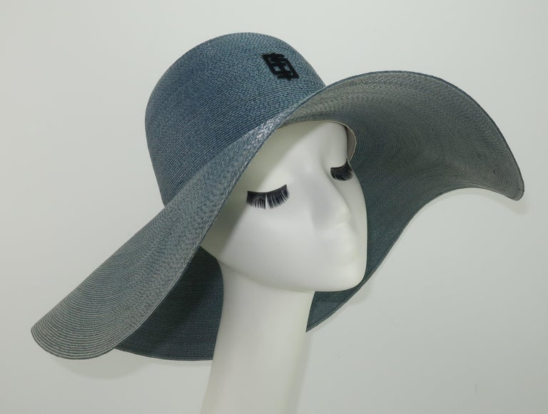 Emilio Pucci Wide Brim Blue Gray Straw Hat, 1960's For Sale 3