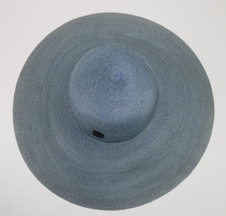 Emilio Pucci Wide Brim Blue Gray Straw Hat, 1960's For Sale 4