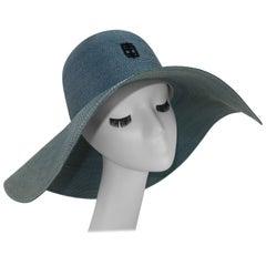 Emilio Pucci Wide Brim Blue Gray Straw Hat, 1960's
