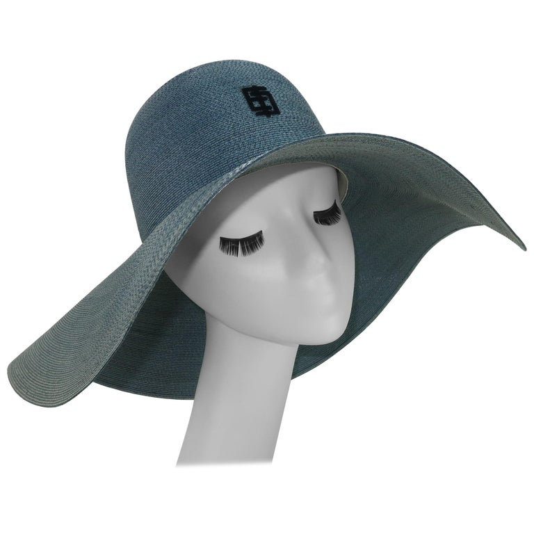 Emilio Pucci Wide Brim Blue Gray Straw Hat, 1960's For Sale