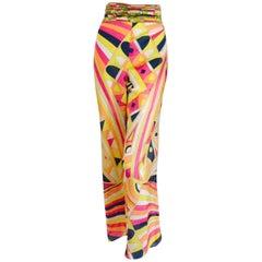 Emilio Pucci Wide Leg Cotton Blend Pants in a Geometric Multi Color Design