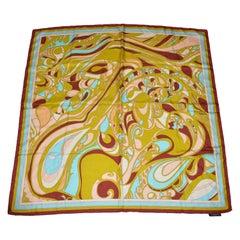 Emilio Pucci Wonderfully Warm Brown Borders Signature Print Silk Jacquard Scarf