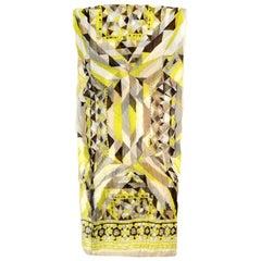 Emilio Pucci Yellow & Grey Silk Crinkled Scarf