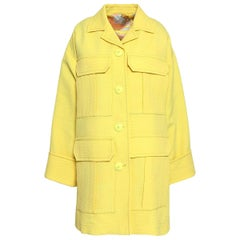Emilio Pucci yellow matelasse oversized coat Size M