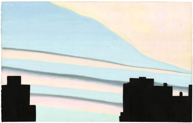 Emilio Sanchez Landscape Painting - New York Sunset, Pink and Blue.