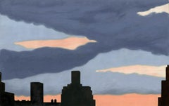 New York Sunset with Blue Gray Cloud.