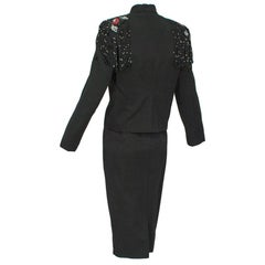 Emilio Schubert Ribbed Black Bead Epaulette Cocktail Dress Suit - M, 1960s