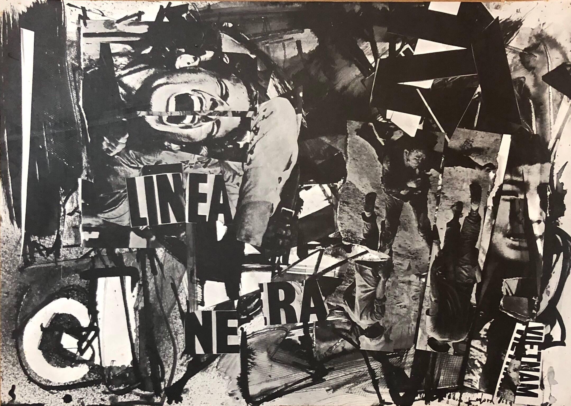 Italian Abstract Collage 'Linea Nera' Large Screenprint 1960s Vietnam Era