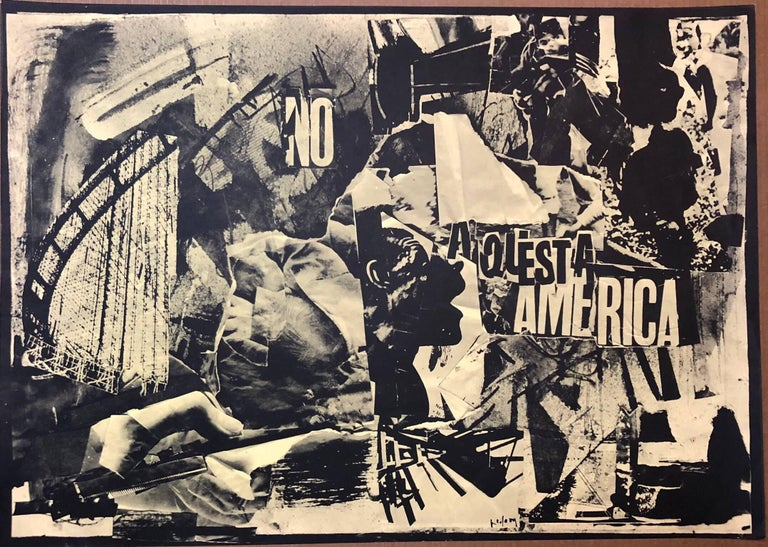 Italian Abstract Collage 'No a Questa America' Large Screenprint Hand Signed - Print by Emilio Vedova