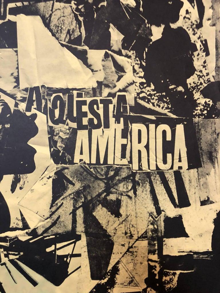 Italian Abstract Collage 'No a Questa America' Large Screenprint Hand Signed - Arte Povera Print by Emilio Vedova