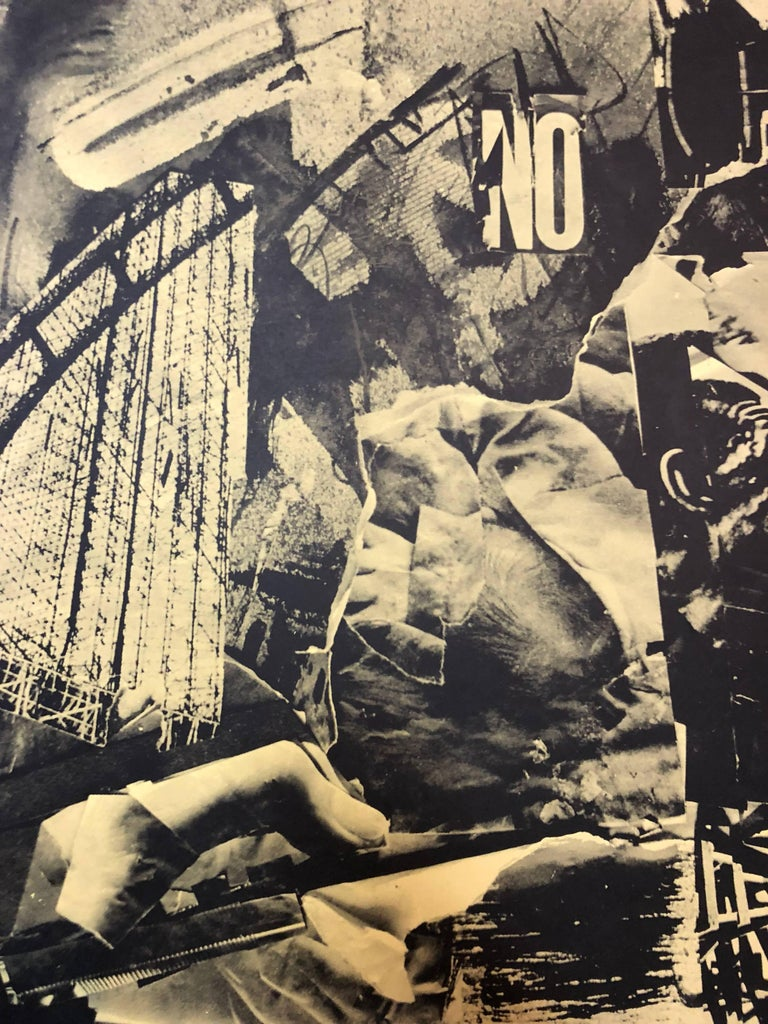 Italian Abstract Collage 'No a Questa America' Large Screenprint Hand Signed - Black Figurative Print by Emilio Vedova