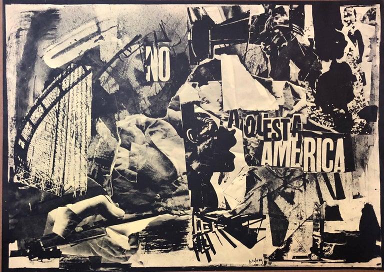 Emilio Vedova Figurative Print - Italian Abstract Collage 'No a Questa America' Large Screenprint Hand Signed