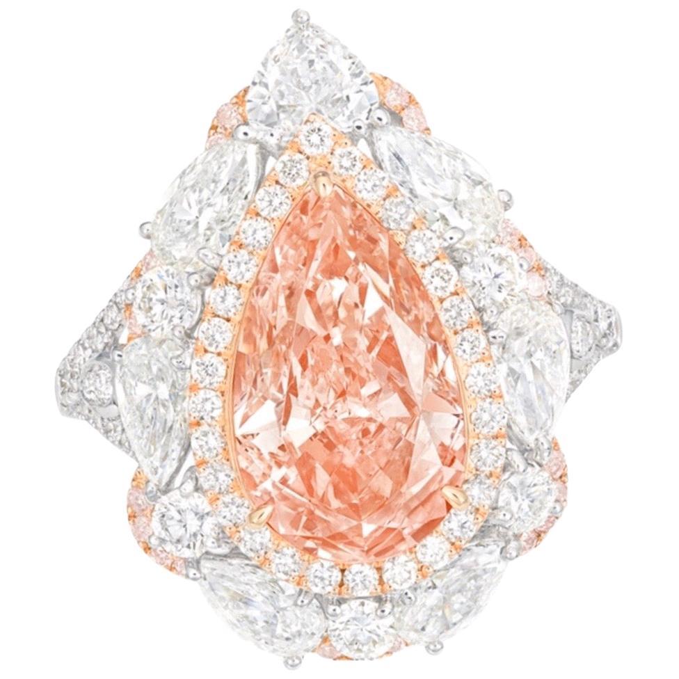 Emilio Jewelry GIA Certified 3.00 Carat Fancy Orange Pink Diamond