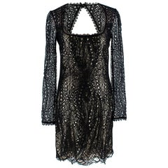 Emilo Pucci Black & Gold Lace Mini Dress 8UK