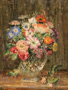 Still life of Flowers in a Crystal Vase