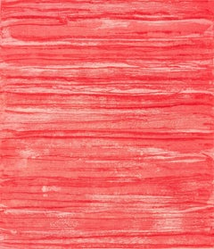 """""""Bound Brook #10"""", abstract etched, aquatinted monoprint, shades of red and pink"""