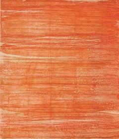 Bound Brook #26, painterly abstract aquatint monoprint, red, orange, vermillion.
