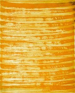 """October 1"", painterly abstract aquatint monoprint, yellow, orange tones."