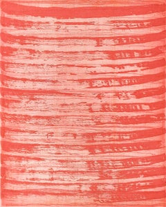 """""""October 14"""", painterly abstract monoprint, layered in tones of red and pink."""