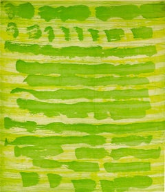 """October 22"", painterly abstract aquatint monoprint, layered yellow and green."