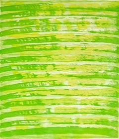 """October 23"", painterly abstract aquatint monoprint, layered yellow and green."