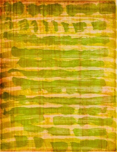 """October 24"", painterly abstract aquatint monoprint, yellow, vermilion, green."