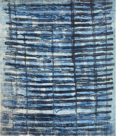 """Rubato 15"", pale blue, Paynes gray, painterly abstract aquatint monoprint,"