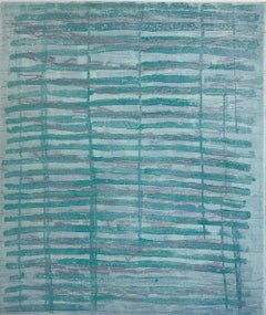 """Rubato 22"", painterly abstract aquatint print, pale emerald green, silver ."