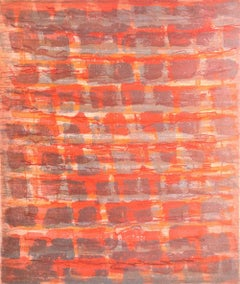 """Rubato 3"", painterly abstract aquatint monoprint, bright orange, red, violet."
