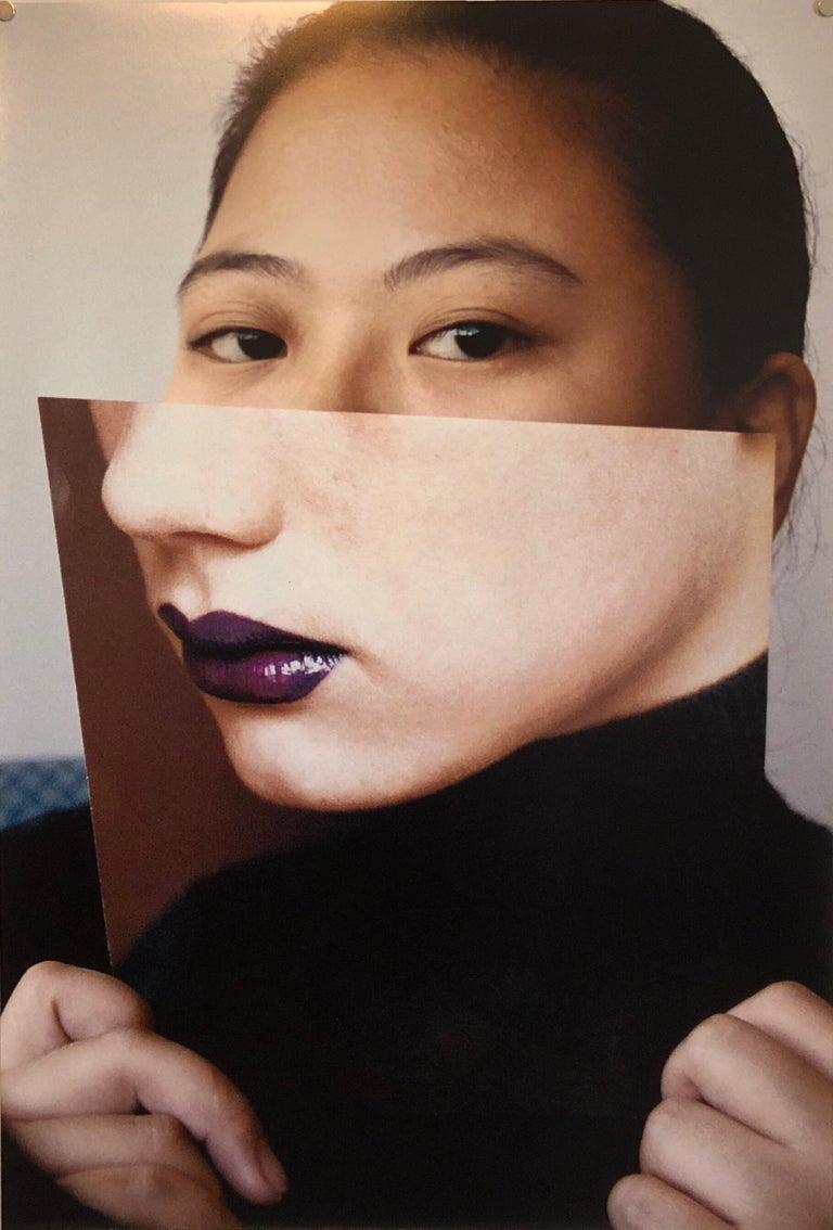 Emily Cheng Portrait Photograph - Faces, Vintage Color Photograph Digital Photo Collage Print Asian American