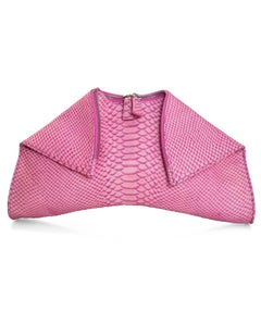 Emily Cho Pink Embossed Snakeskin Folded Clutch Bag rt. $525