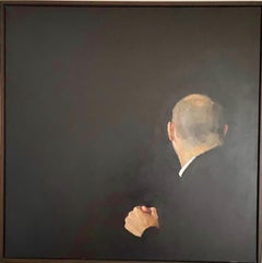 """""""Lure"""" A large dark portrait of a bald man from behind"""