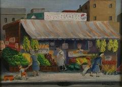 Antique Folk Art Oil Painting Tony's Market 1930