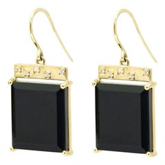 Emily Kuvin Black Onyx, Diamond and Gold Tile Earrings