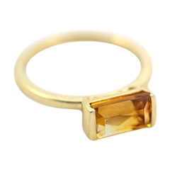 Emily Kuvin Citrine and 14 Karat Yellow Gold Ring