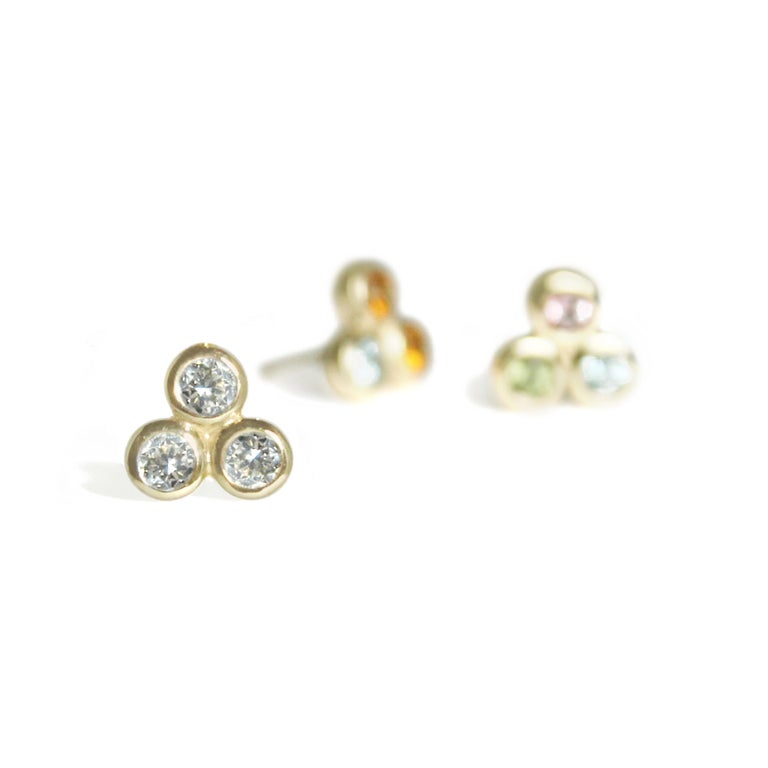 Simple, original and yet classic. Our Three Dot Earrings will add a touch of sparkle and elegance. Mix and match them with Trillion Earrings and a Signature Necklace, Three Dot Necklace or Trillion Necklace, or wear a pair alone. Truly