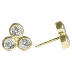 Emily Kuvin Gold and Triple Diamond Stud Earrings