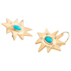 Emily Kuvin Gold, Diamond and Turquoise Organic Star Lever Back Earrings
