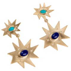 Emily Kuvin Gold Double Statement Earrings with Lapis, Turquoise and Diamonds