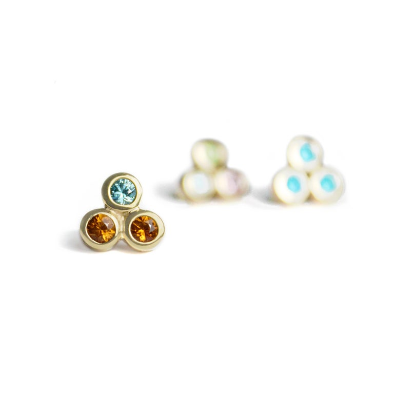 Contemporary Emily Kuvin Gold, Garnet and Zircon Stud Earrings For Sale