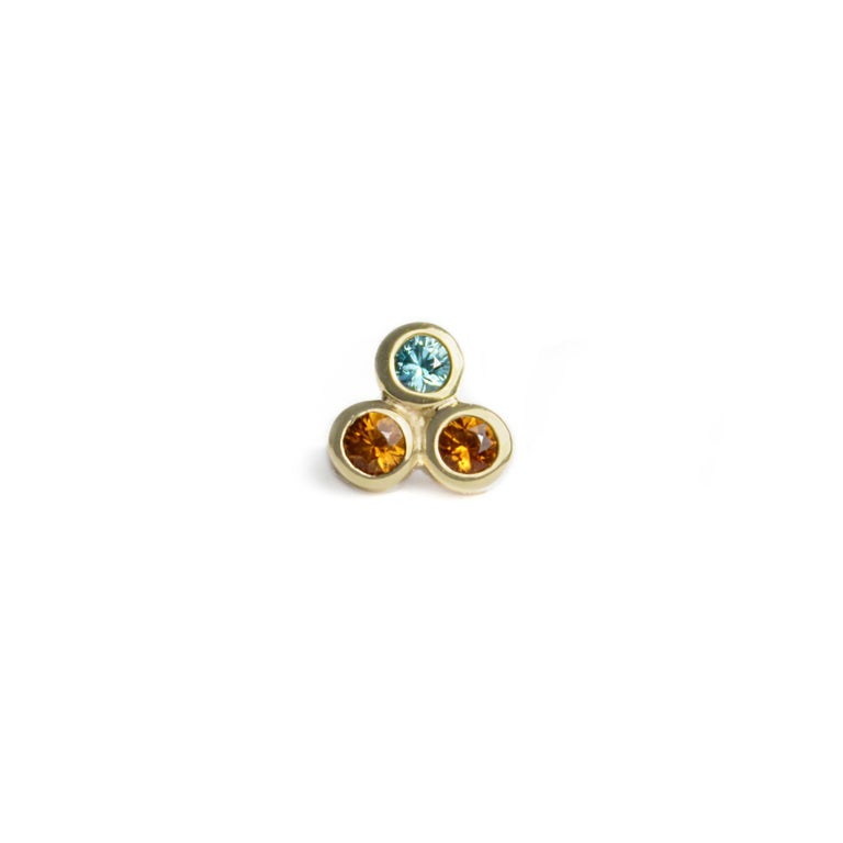 Round Cut Emily Kuvin Gold, Garnet and Zircon Stud Earrings For Sale