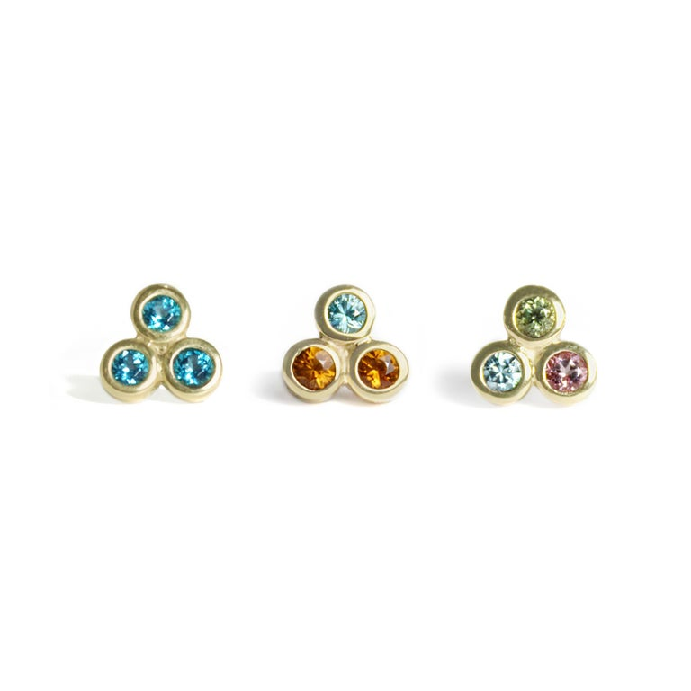 Emily Kuvin Gold, Garnet and Zircon Stud Earrings In New Condition For Sale In Lyme, NH
