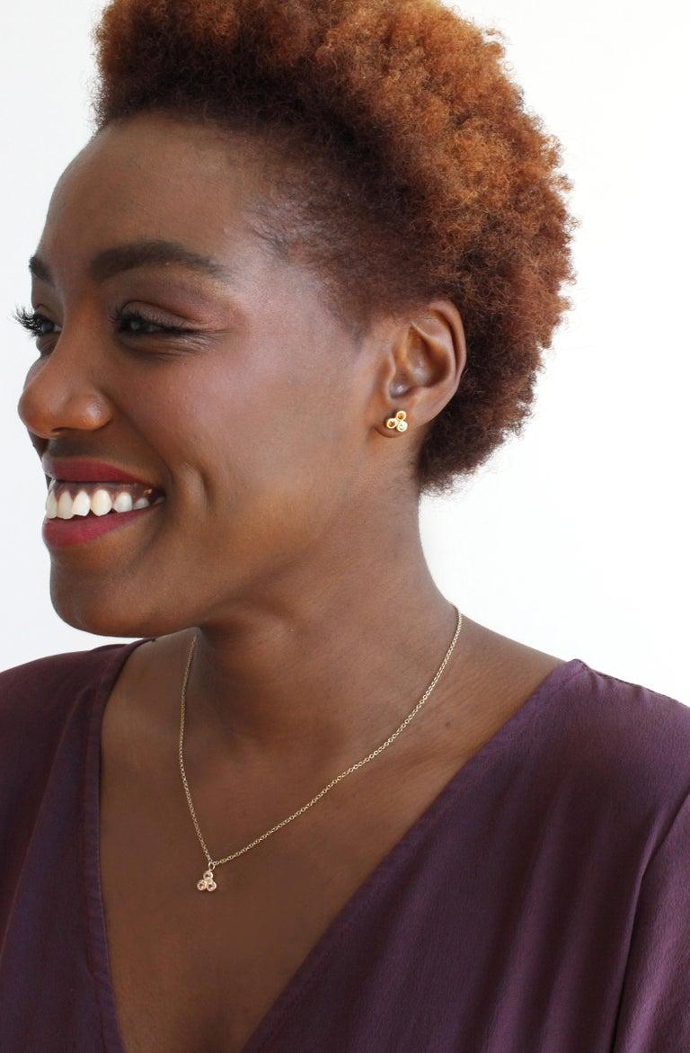 Emily Kuvin Gold, Garnet and Zircon Stud Earrings For Sale 2