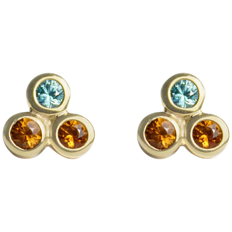 Emily Kuvin Gold, Garnet and Zircon Stud Earrings For Sale