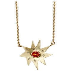 Emily Kuvin Gold Necklace with Poppy Passion Topaz and Diamonds